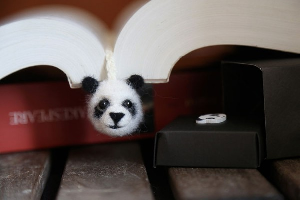 Needle felted panda bookmark
