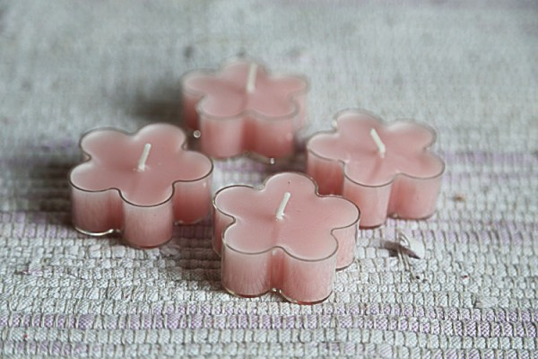 Pink flowers candles