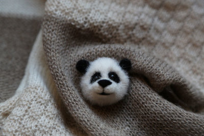 Panda needle felted brooch