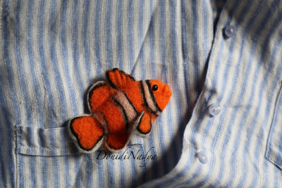 Felt brooch fish Amphiprion Clownfish
