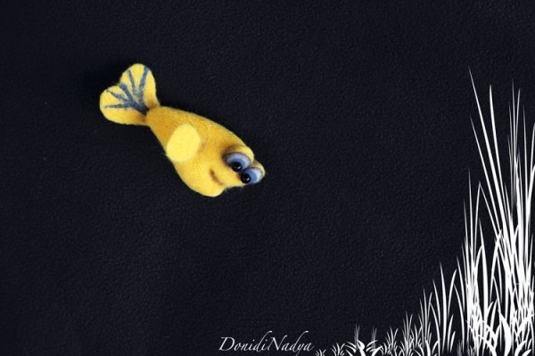 Fish needle felted brooch