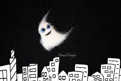 Ghost needle felted pin
