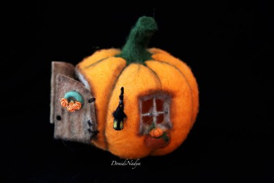 Felted fairy pumpkin house with internal space