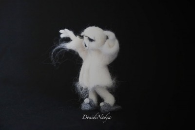 Needle felted horror doll ghost