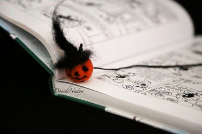 Needle felted pumpkin man bookmark