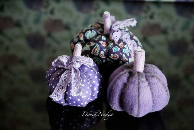 Lilac fabric pumpkins