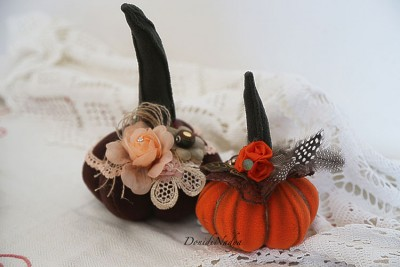 Shabby chick fabric pumpkins