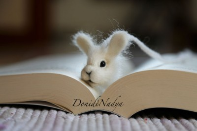 White bunny needle felted bookmark
