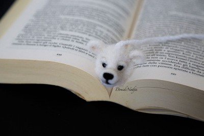 White polar bear needle felted bookmark