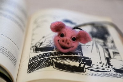 Pig needle felted bookmark