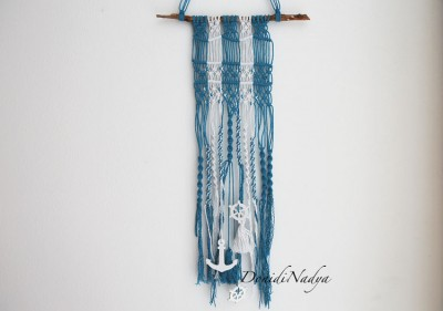 Blue and white macrame