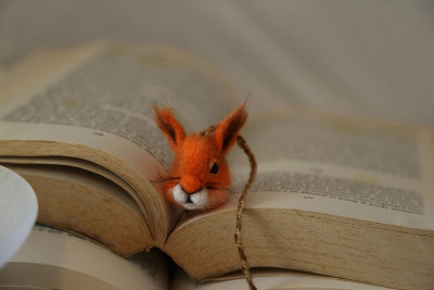 Needle felted squirrel bookmark
