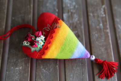"Fabric heart with pocket ""Rainbow"""