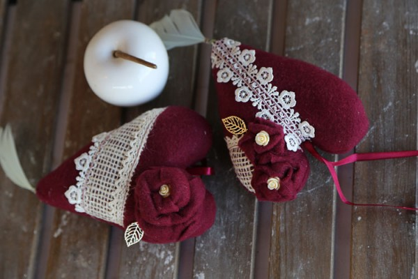 Fabric hearts burgundy