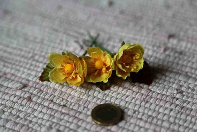 Yellow fabric flowers
