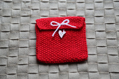 "Knitted gift bag ""Red heart"""
