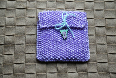 "Knitted gift bag ""Lilac sheep"""