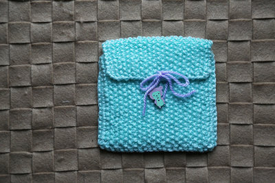 "Knitted gift bag ""Mint sheep"""
