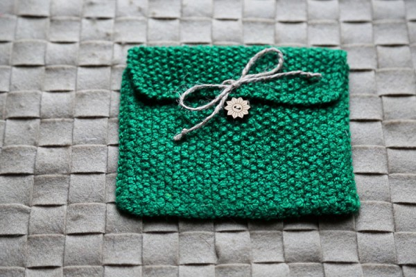 "Knitted gift bag ""Green"""