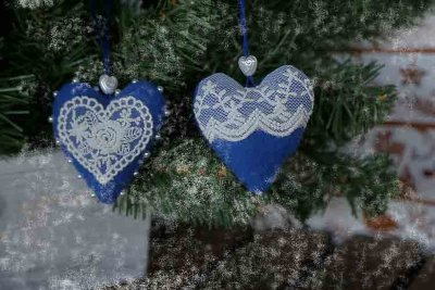Blue hearts hanging decor