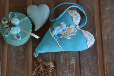 "Heart with pocket ""Blue bear"""