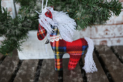 Red white horse hanging decor