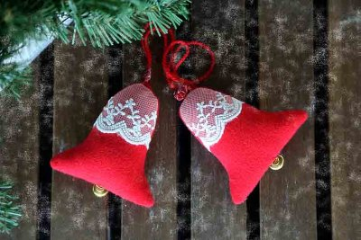 Xmas bells plush hanging decor