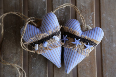 "Fabric hearts ""Sea"""