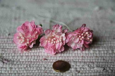 Pink fabric flowers