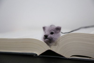 Grey cat needle felted bookmark