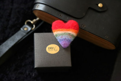 Rainbow heart wool pin