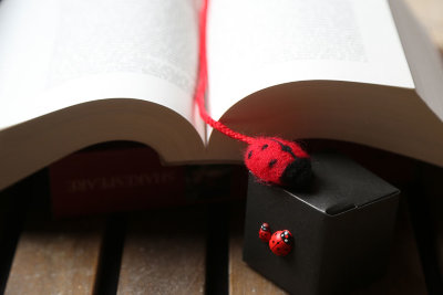 Needle felted ladybug bookmark