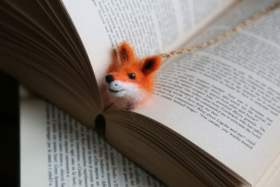Needle felted fox bookmark